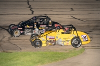 #17 Chris Windom and #63 Kody Swanson battle for position at Madison International Speedway.