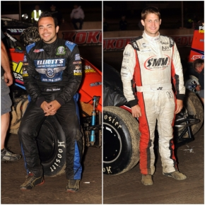 "Chris Windom (left) leads the USAC AMSOIL National Sprint Car point standings by 3 points over Justin Grant (right) heading into this weekend's ""Oval Nationals"" Nov. 9-10-11 at Perris (Calif.) Auto Speedway."