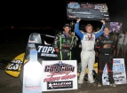 Gas City winner Tyler Courtney (middle) is flanked by 2nd place Bryan Clauson (left) and 3rd place finisher Chris Windom (right).