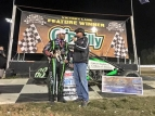 Bryan Clauson in victory lane Thursday night after winning the USAC AMSOIL Sprint Car National Championship season opener at Bubba Raceway Park in Ocala, Fla.