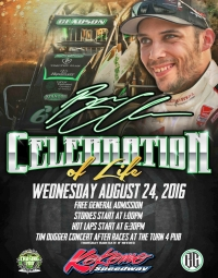 BRYAN CLAUSON'S CELEBRATION OF LIFE: WED, AUG. 24TH AT KOKOMO SPEEDWAY