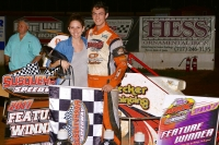 Trevor Kobylarz in victory lane after winning Saturday night's USAC/ARDC Midget feature at Susquehanna Speedway.