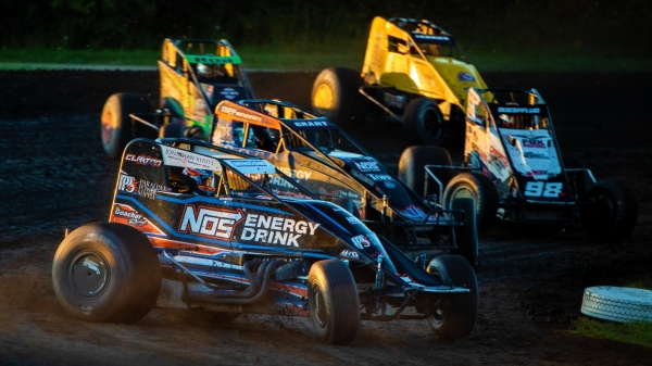 USAC AMSOIL National Sprint Car action from Gas City I-69 Speedway in July of 2019.
