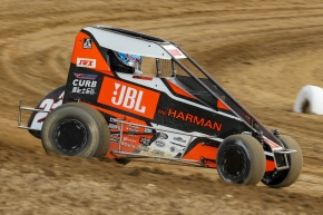 "Kyle Larson captured Tuesday night's ""Indiana Midget Week"" opener at Montpelier Motor Speedway."
