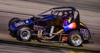 Toni Breidinger #80 won last Saturday night's USAC Western HPD Midget feature at The Bullring at Las Vegas (Nev.) Motor Speedway