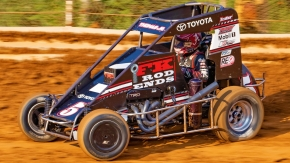 Kevin Thomas, Jr. was the quickest in USAC NOS Energy Drink National Midget practice Wednesday night at Arizona Speedway.
