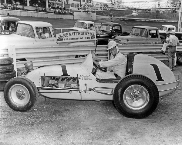 Bob Sweikert, pictured at Salem (Ind.) Speedway on 5/6/1956, won USAC's very first Sprint Car race at Southland Speedway in West Palm Beach, Florida on 2/5/1956