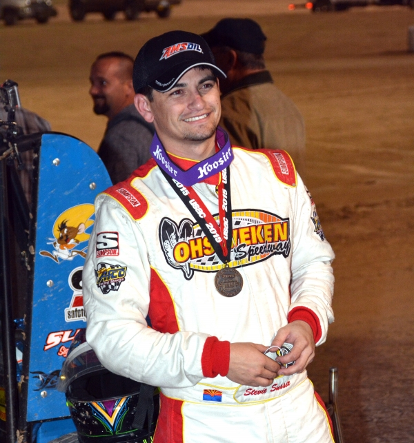 Stevie Sussex celebrates in victory lane at Las Vegas.