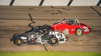 #2 Patrick Lawson and #31 Derek Bischak battle at Madison International Speedway.