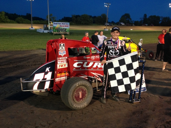 "Kyle Larson started ""Indiana Midget Week"" in victory lane at Gas City."