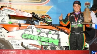 "Brady Bacon was victorious on night one of the Brandt Professional Agriculture ""Corn Belt Nationals"" Friday night at Knoxville Raceway."