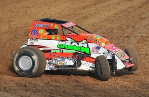 Chad Boespflug in his first USAC AMSOIL National Sprint Car start for Hoffman Auto Racing at Putnamville, Indiana's Lincoln Park Speedway in 2012.
