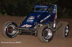 Bryan Clauson hiked the front wheels on his way to winning Friday at I-30 Speedway