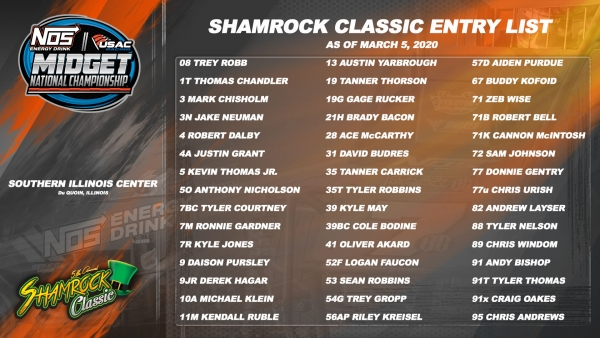 SHAMROCK CLASSIC ENTRY LIST REACHES 45