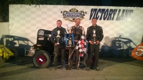 Winner Adam Pierson is joined in victory lane at Albany-Saratoga Speedway by runner-up Seth Carlson and third-place Derek Graham.
