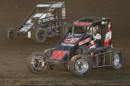 #11 Dave Darland and #97 Spencer Bayston battle for position at Indiana's Kokomo Speedway during 2016 Indiana Midget Week.
