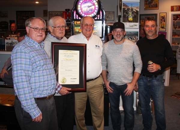 Dick Jordan (2nd from left) is joined by Indiana Memorial Racing Association's Brian Hasler (far left) and Mark Eutsler (middle), plus USAC champs Tony Stewart (2nd from right) and Dave Darland (far right).