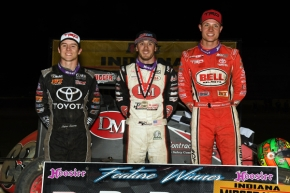 Feature winner Kevin Thomas, Jr. (middle), Indiana Midget Week champion and 2nd place finisher Spencer Bayston (right) and 3rd place finisher Logan Seavey (left) pose in victory lane following Sunday's IMW finale at Kokomo Speedway.