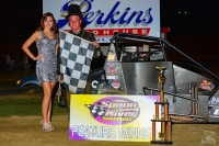 Chett Gehrke celebrates in victory after winning Saturday night's USAC IMRA Midget feature at Spoon River Speedway.