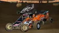 #28 Brandon Mattox leads USAC AMSOIL National Sprint Car action at Kokomo (Ind.) Speedway during the 2020 season.