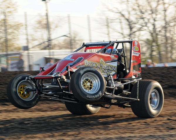 Landon Simon on the throttle Friday at Gas City...