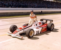 Herm Johnson poses after qualifying for his second Indianapolis 500 in 1984.
