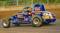 Jeff Swindell aboard a USAC Silver Crown car at the Illinois State Fairgrounds.