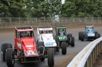 "#71 Shane Cockrum, #57 Levi Jones, #07 Jacob Wilson and #53 Steve Buckwalter lead the field in 2015 ""Bettenhaausen 100"" at Springfield."