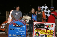 Danny Smith and crew celebrate Friday night's USAC Wingless Sprints Oklahoma victory at Red Dirt Raceway.