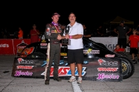 "Kody Swanson (left) joins Jeff O'Connor, son of Pat O'Connor, following his record-setting 24th career USAC Silver Crown win Saturday night at Indiana's Salem Speedway in the 59th running of the ""Joe James/Pat O'Connor Memorial."""