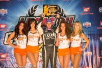 "Bryan Clauson holds the Golden Driller after winning Saturday night's ""Chili Bowl"" in Tulsa, Okla."