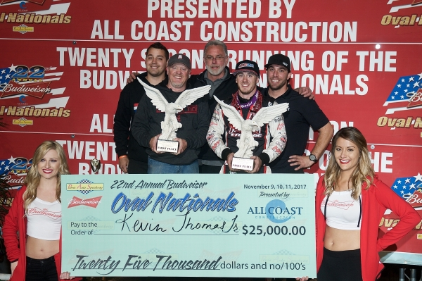 "Kevin Thomas, Jr. celebrates his win in Saturday night's ""Oval Nationals"" at Perris (Calif.) Auto Speedway."