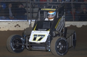 "Ricky Stenhouse, Jr. in action during his USAC Midget ""Special Event"" win at the Southern Illinois Center in Du Quoin in December 2015."