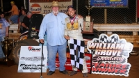 Fred Gormly (left) and Chris Windom celebrate a USAC Silver Crown victory at Williams Grove Speedway in 2016.