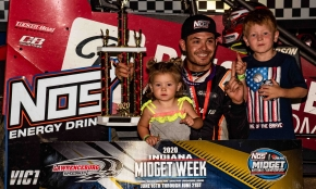 Winner Kyle Larson and the kids.
