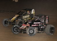 "#17GP Tyler Thomas and eventual winner #23c Tyler Courtney battle for the lead on the final lap of last Saturday's ""Sprint Car Smackdown VI"" at Kokomo (Ind.) Speedway."