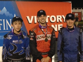 Winner Scott Hunter is lanked by Blaine Leydig and Calvin Carroll at Ace.