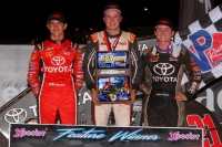 "Christopher Bell (middle), the winner of ""Tuesday Night Thunder"" at Red Dirt Raceway, is joined by Keith Kunz Motorsports/Curb-Agajanian teammates Logan Seavey (right) who finished 2nd and Tanner Carrick (left) who finished 3rd."