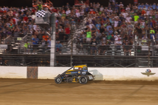 Zeb Wise captured the victory in the Stoops Pursuit race on the opening night of the BC39 at the Dirt Track at the Indianapolis Motor Speedway.