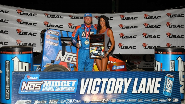 Tyler Courtney in victory lane after winning Saturday night's Midwest Midget Championship at Jefferson County Speedway.