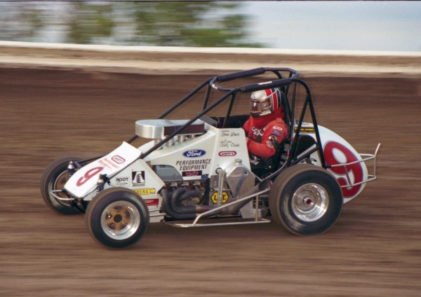 1996 USAC National Midget champion Kenny Irwin, Jr. on the Belleville (Kans.) High Banks