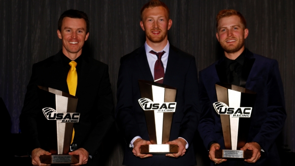 The 2019 USAC National Champions (left to right): Kody Swanson (Silver Crown), C.J. Leary (Sprint) and Tyler Courtney (Midget).