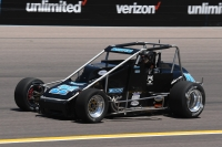 Bobby Santos at speed during his pole run in ProSource Qualifying Friday at Phoenix Raceway.