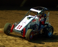 "#11 Tracy Hines in the Wilke family midget at Eldora Speedway in the 2002 ""Four Crown Nationals."""