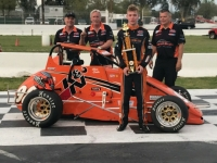 Adam Lemke in victory lane at Madera.