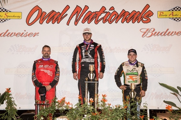 "Robert Ballou led Brady Bacon & Jon Stanbrough onto Friday's ""Budweiser Oval Nationals"" presented by All Coast Construction podium"