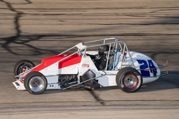 #24 Mike Haggenbottom at speed last year at Wisconsin's Madison International Speedway.
