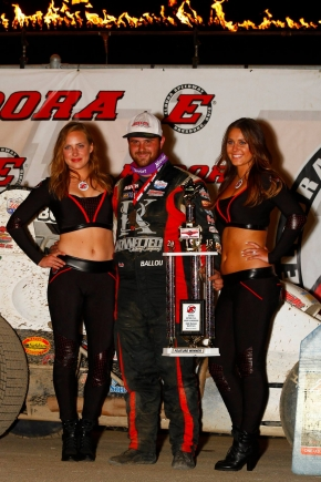 Robert Ballou in victory lane with Eldora Speedway's trophy girls after winning the May 8, 2015 USAC AMSOIL National Sprint Car feature.