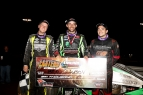 Lincoln winner Bryan Clauson is flanked on both sides by 2nd place finisher Chris Windom (right) and third-place Chase Stockon (left).