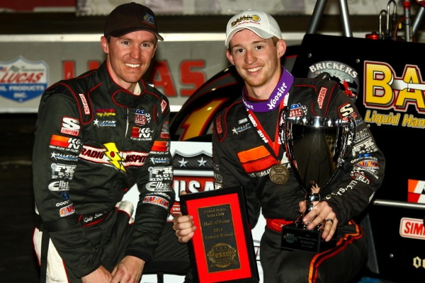 "Tanner Swanson (right) lapped all but brother Kody to win Saturday's ""USAC Hall of Fame Classic"""